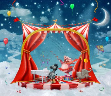 Illustration of cute circus  animals on stage in sky