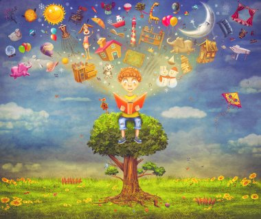 Little boy sitting on the tree and  reading a book, objects flying out