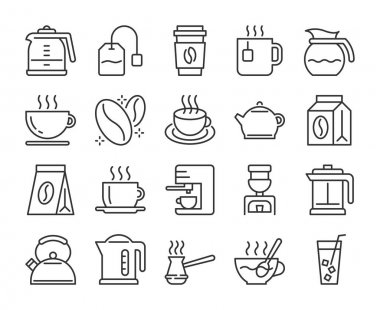 Set of Coffee and Tea Line Icons. Vector Illustration. Editable Stroke, 64x64 Pixel Perfect icon