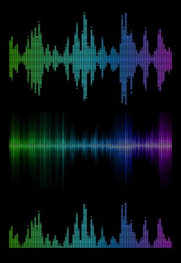 Disco rainbow colored music sound waves for equalizer or waveform design, vector illustration of musical pulse stock vector