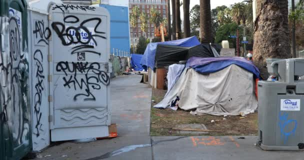Los Angeles, CA USA - December 29, 2020: Graffiti covered outhouses that have been placed at a homeless encampment by the city of Los Angeles