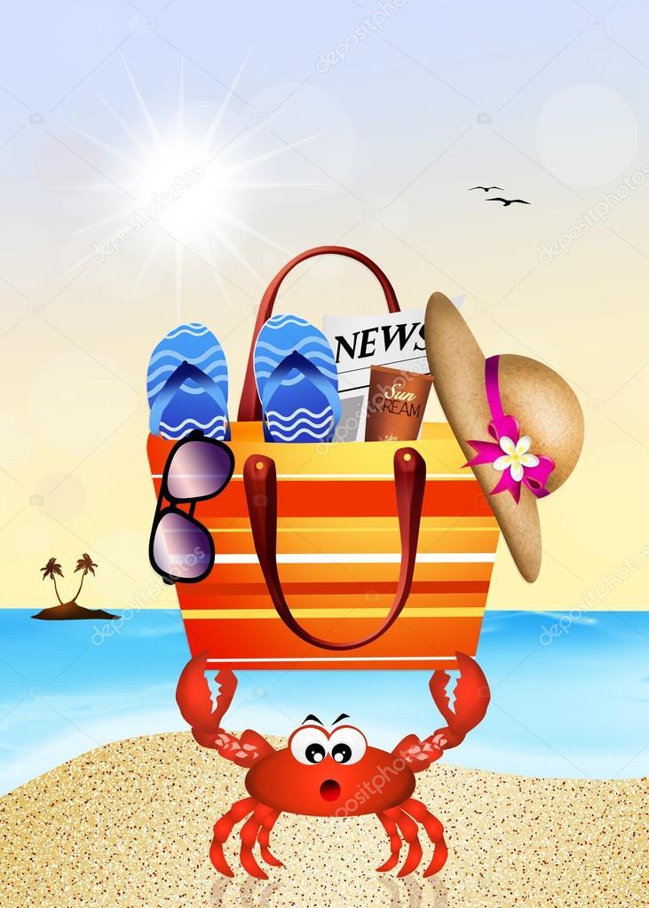 Caranguejo com bolsa de praia — Stock Photo © adrenalina  102098888 7abbc4db93b