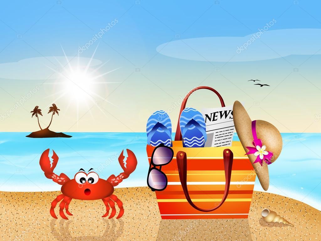 Ilustração de caranguejo engraçado com bolsa de praia — Foto de adrenalina f22f55b26c9