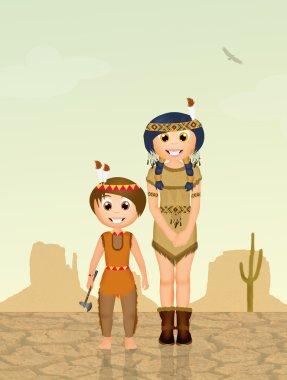 Indians children in the desert