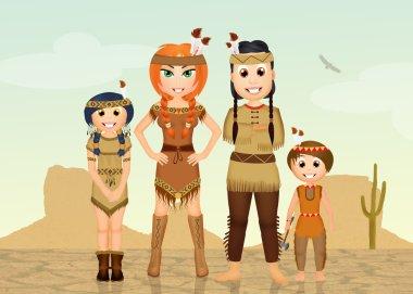 Indians family in the desert