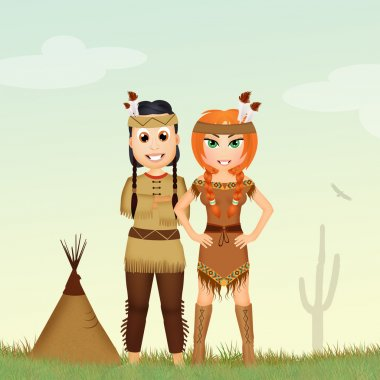 Native American indians couple