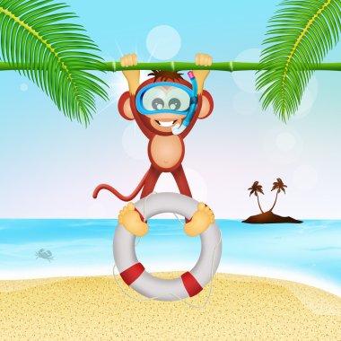 monkey lifeguard with lifebelt