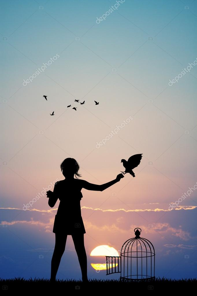 little girl and birds