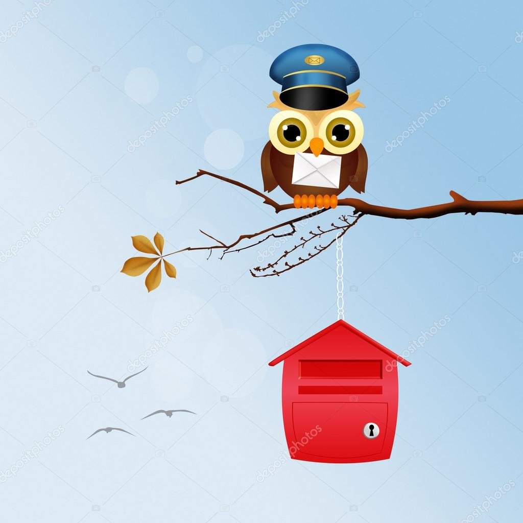 owl postman on branches