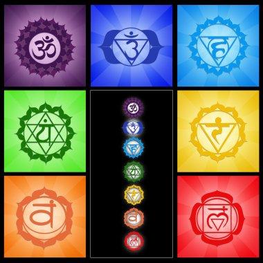 Seven chakras collage