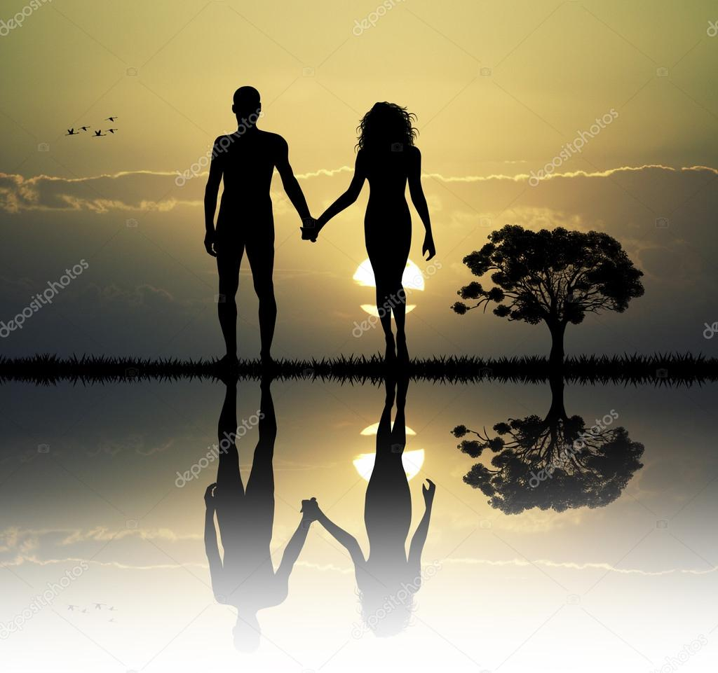 Adam and Eve in the eden — Stock Photo