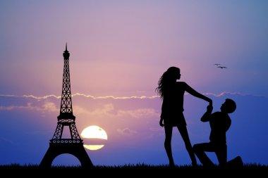Man proposing to woman in Paris