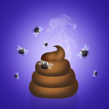 poop with flies