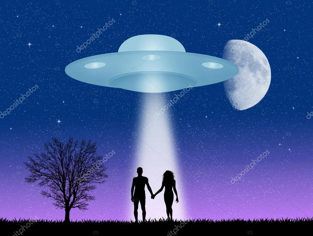 couple and ufo silhouette stock photo adrenalina 96171284
