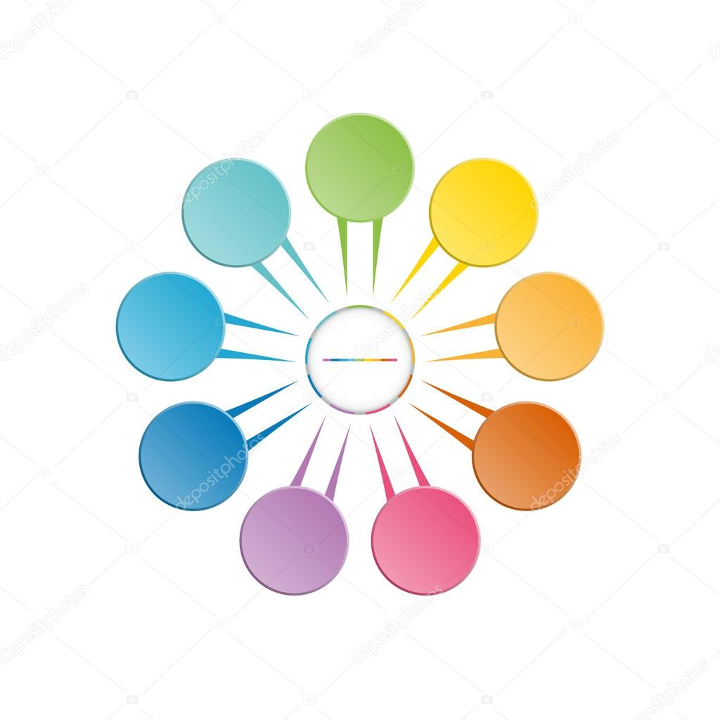 Maschera modello infographic di posizione 9 petali del - Modello di base del fiore ...