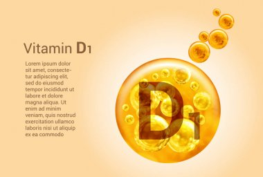 Vitamin D1. Baner with vector images of golden balls with oxygen bubbles. Health concept.