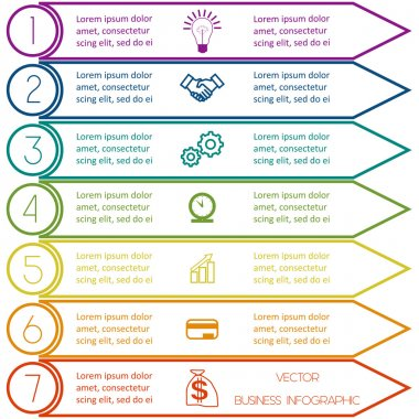 Infographic template from Colourful lines seven positions