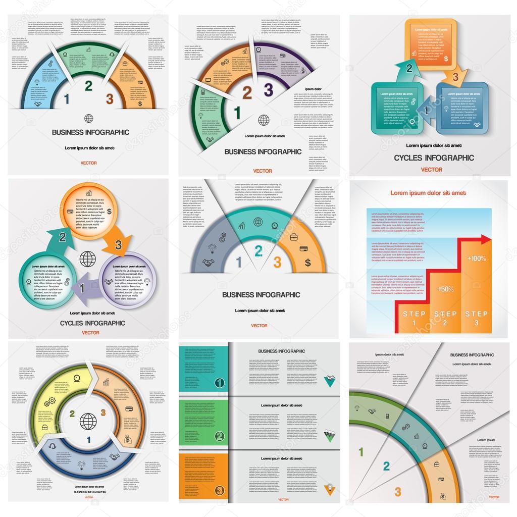 Legen Sie Vorlagen Infografiken zyklische Prozesse auf drei ...