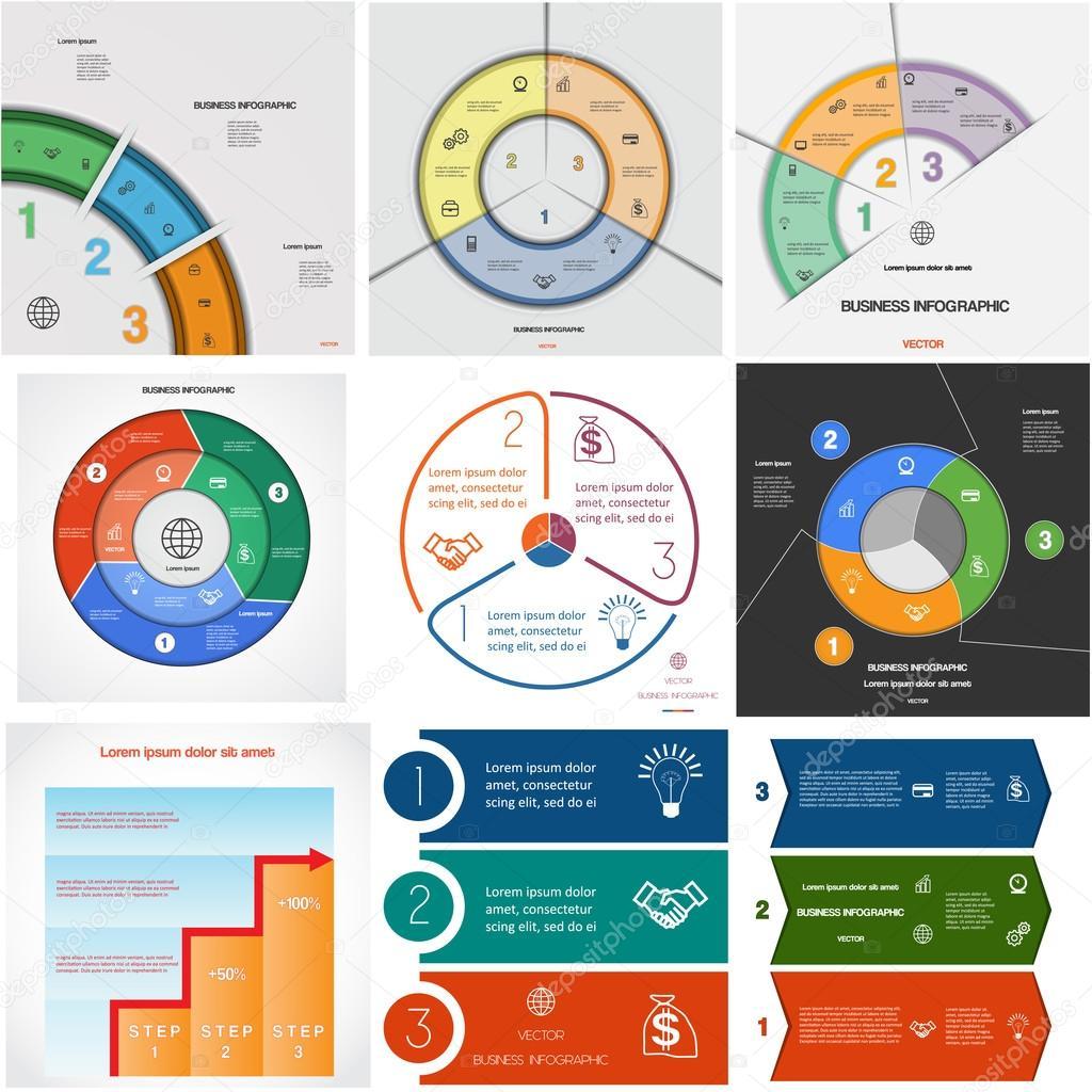 Legen Sie 9 Vorlagen Infografiken zyklische Prozesse auf drei ...