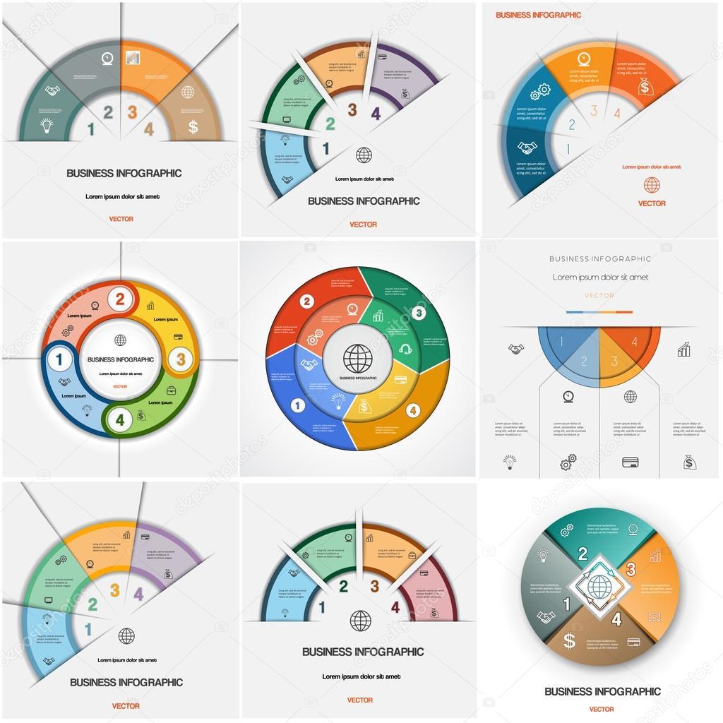 Legen Sie 9 Vorlagen Infografiken zyklische Prozesse. Vier ...