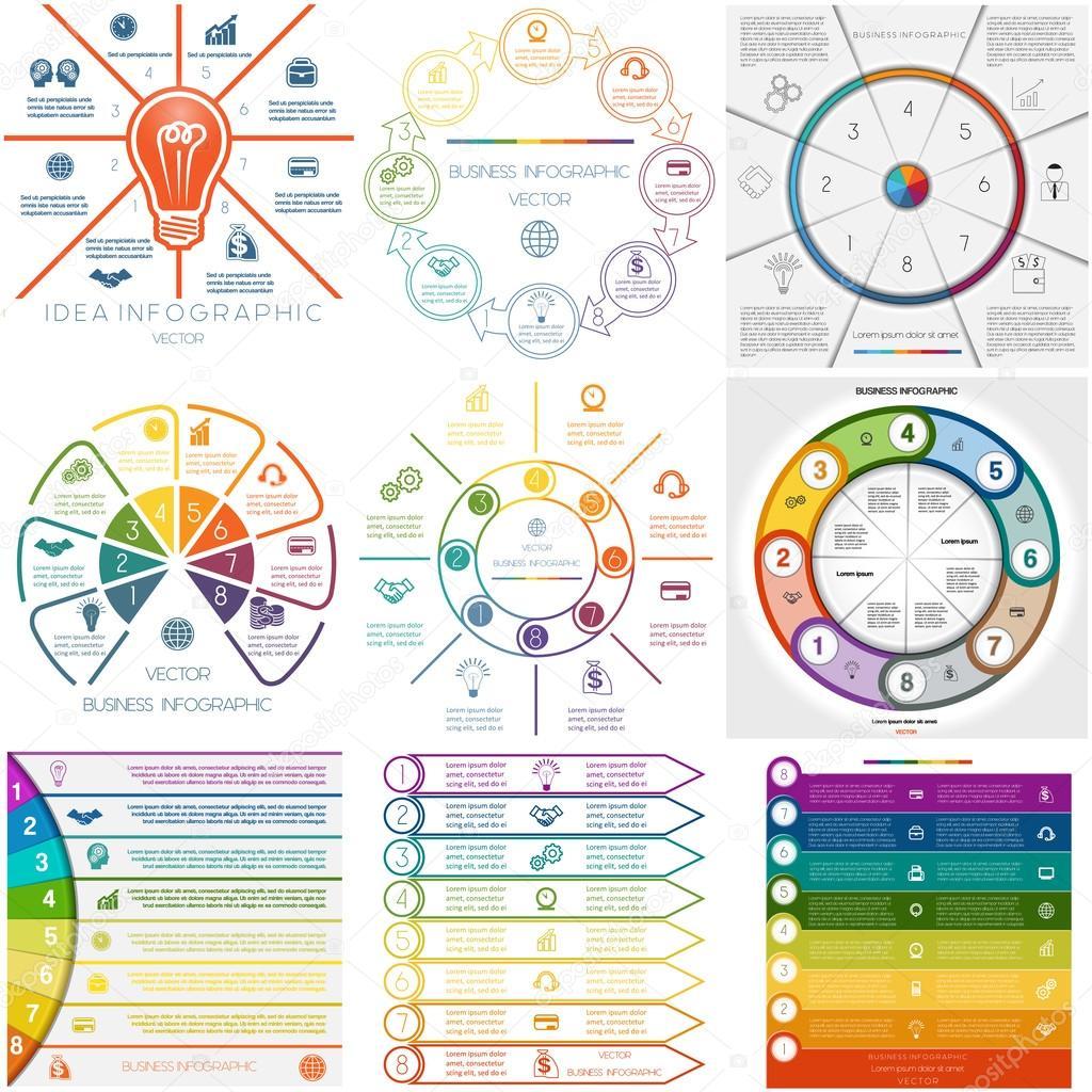 Set 9 Vorlagen Infografiken zyklische Prozesse acht Positionen ...