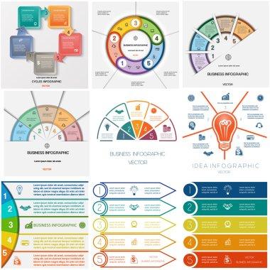Set 9 templates Infographics cyclic processes, five positions