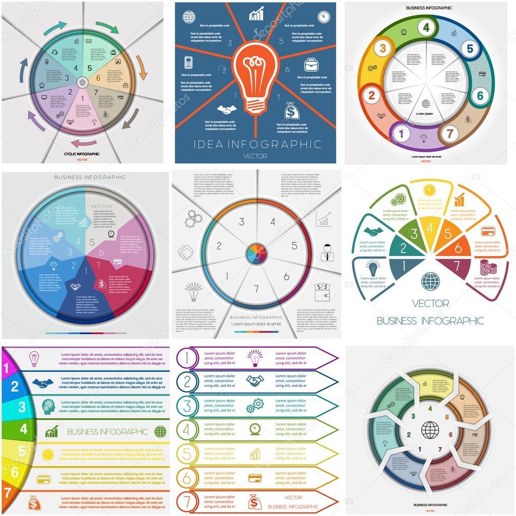 Legen Sie 9 Vorlagen Infografiken zyklische Prozesse. Sieben ...