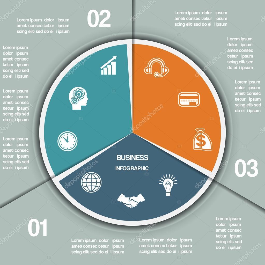 Pastel infográfico gráfico plantilla tres posiciones — Vector de ...