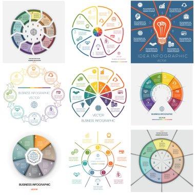 Set 9 templates Infographics seven, eight, nine  positions