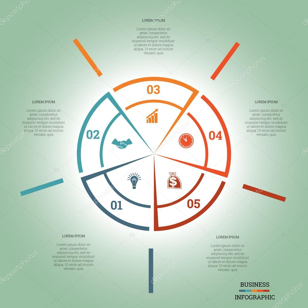 infographic pie chart template colourful circle five positions