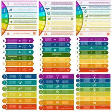 Set 9 templates Infographics colorful strips on 6, 7, 8  positio
