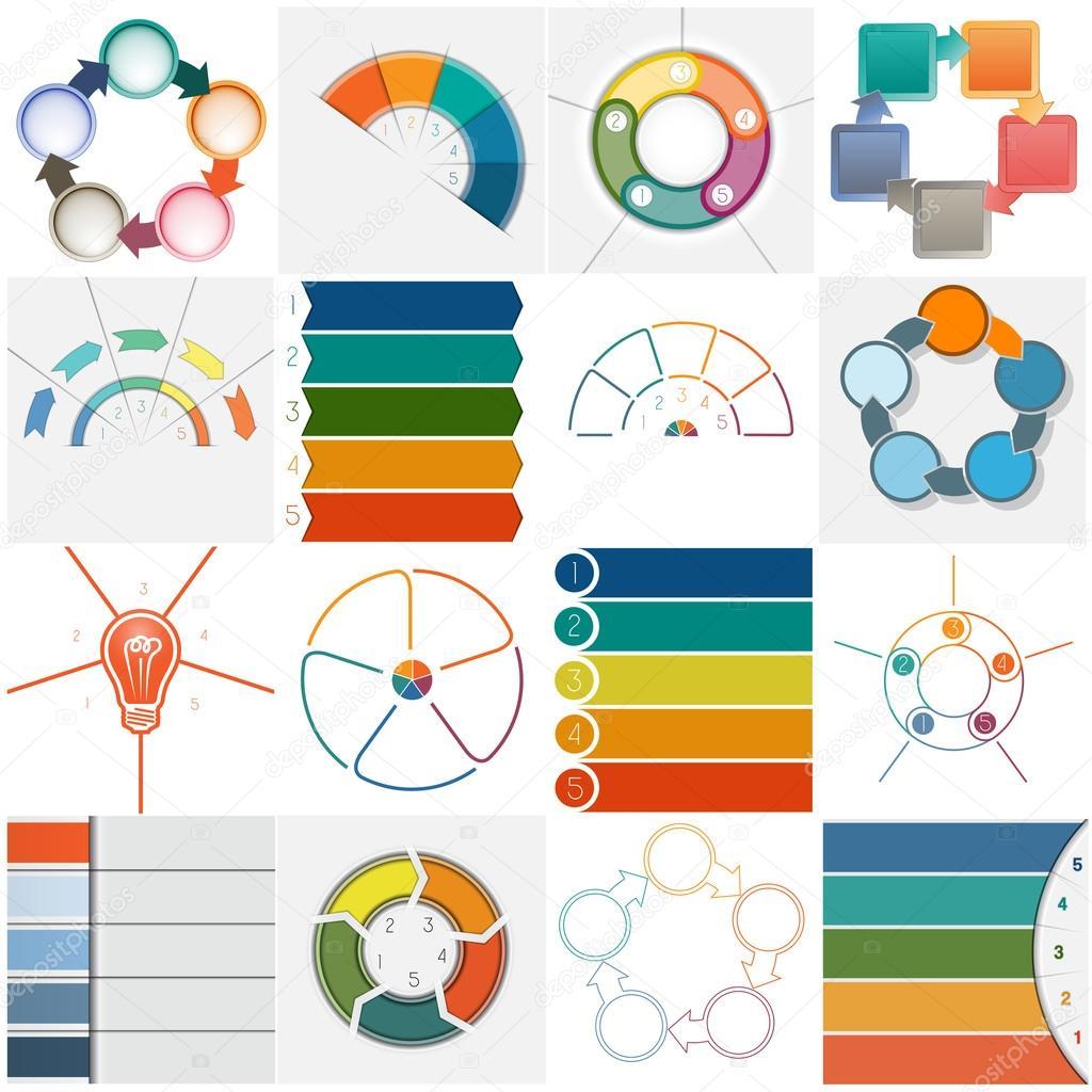 Legen Sie 16 Vorlagen Infografiken zyklische Prozesse, fünf ...