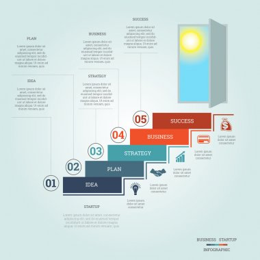 Business success startup infographics five positions