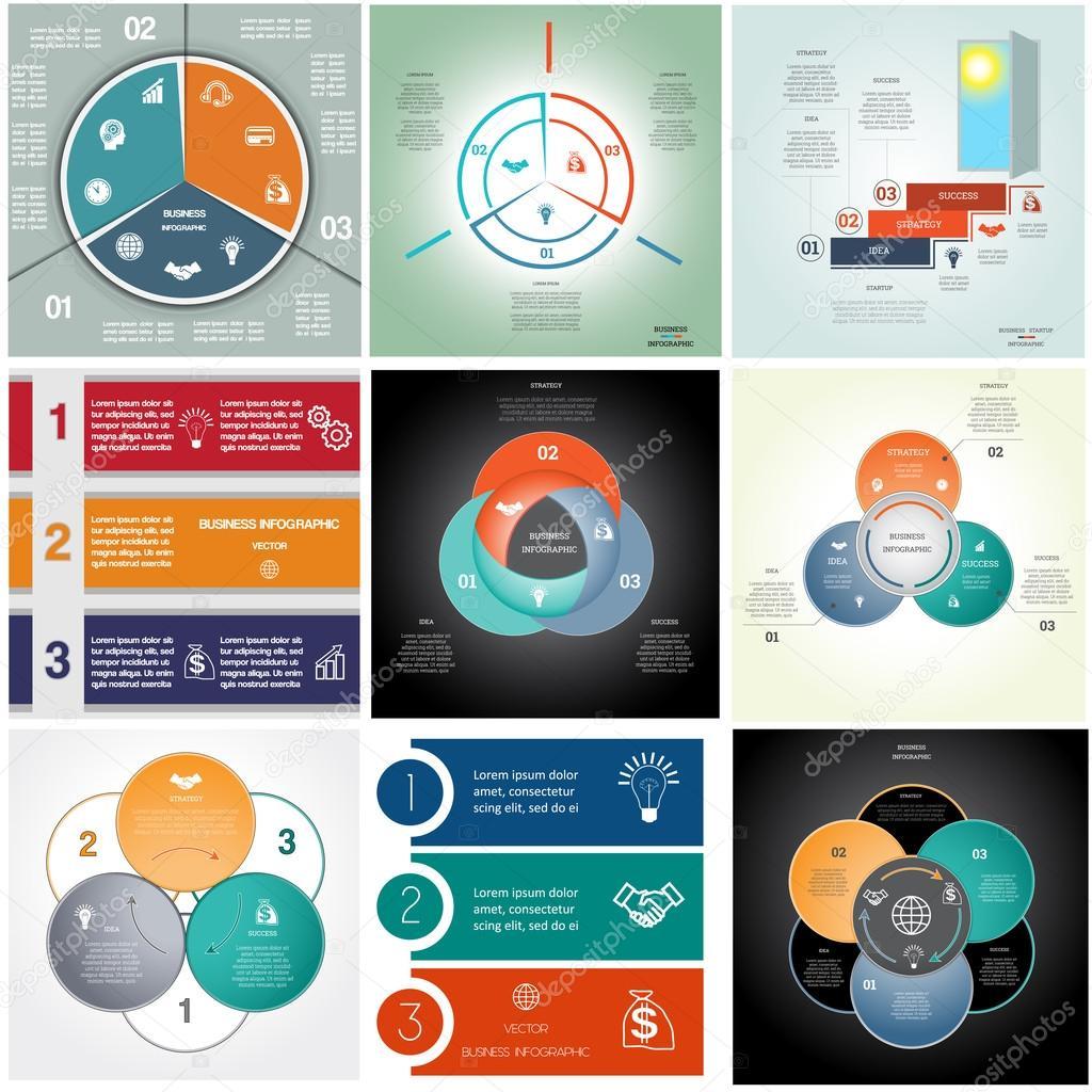 Set 9 templates Infographics cyclic processes, three positions