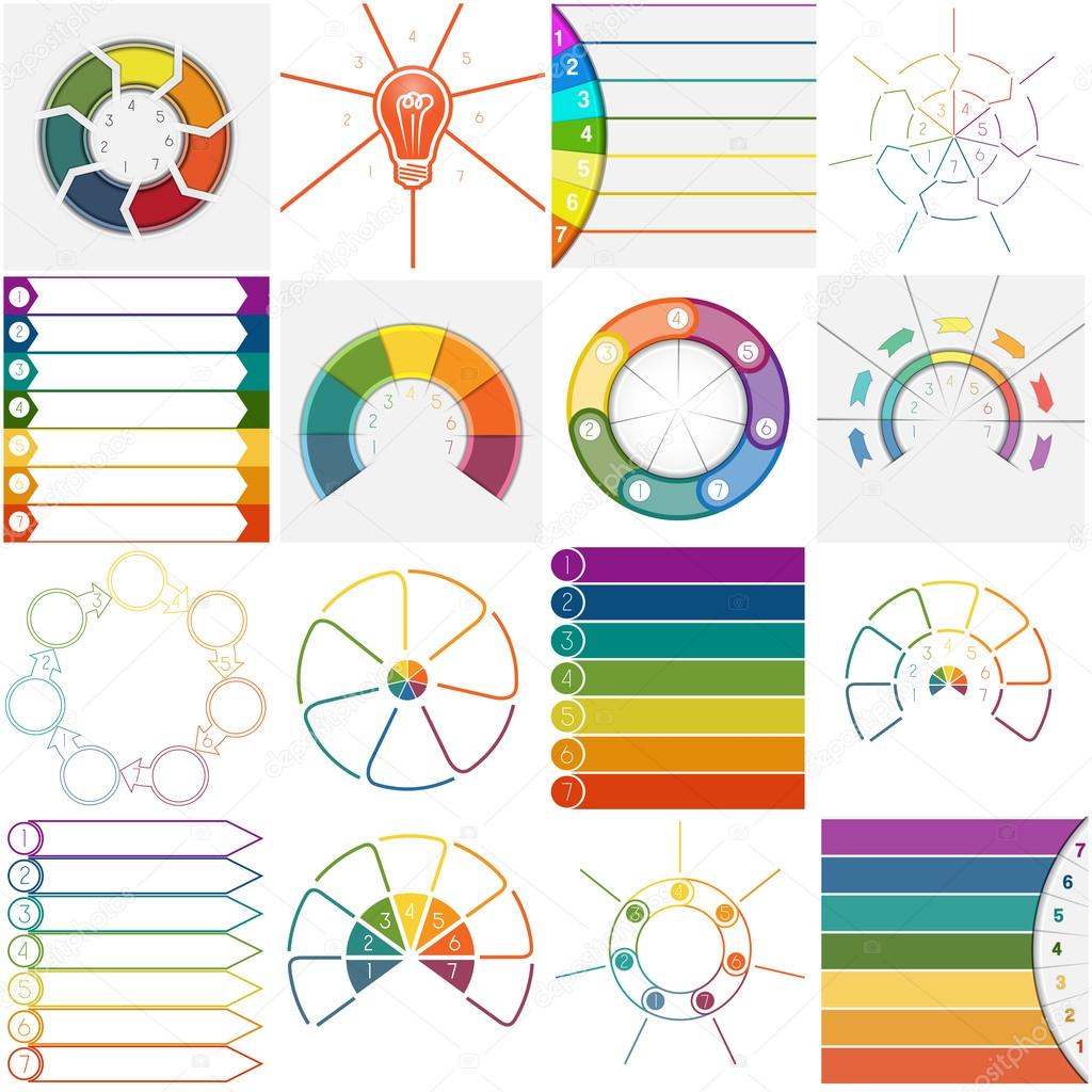 16 Vorlagen Infografiken zyklische Prozesse sieben Positionen ...