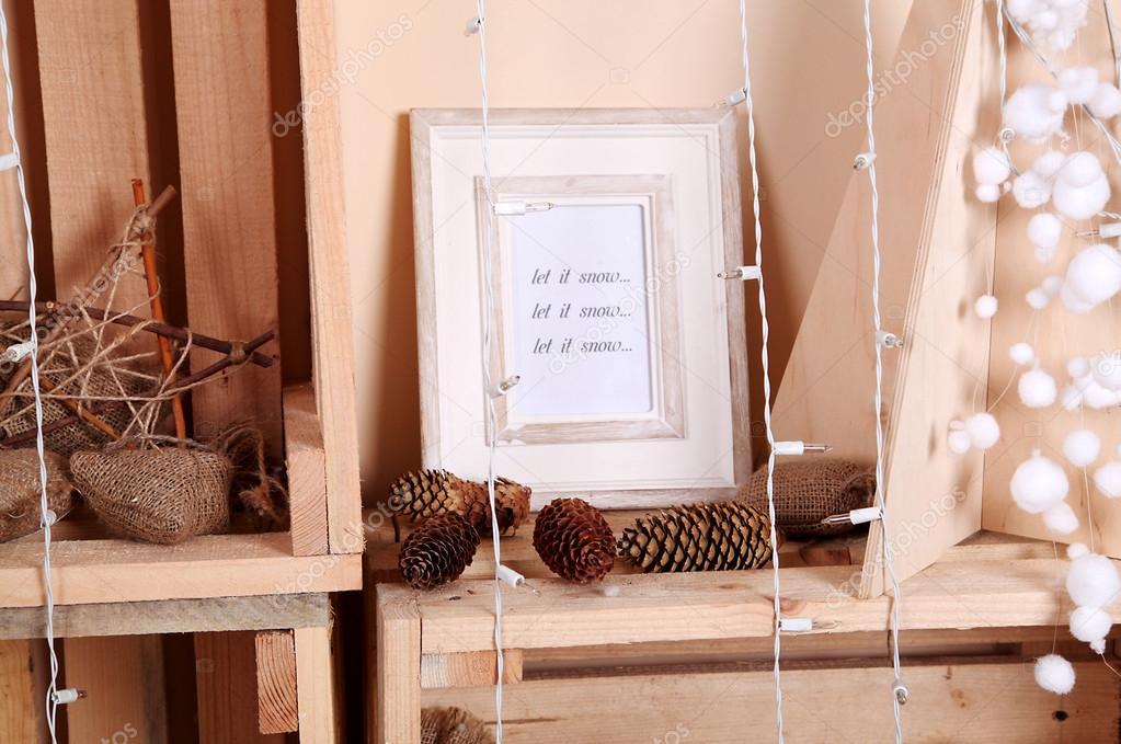 Shabby decoratie van kerstmis in studio u2014 stockfoto © danilchenko