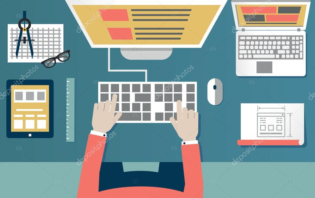 Vector flat illustration of process programming and coding. Web development and equipment