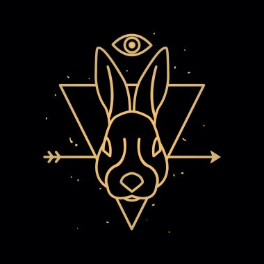 Head of rabbit in triangle. Outline emblem and badge
