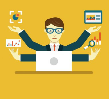 Vector Flat Illustration of Data Specialist with copy space for text