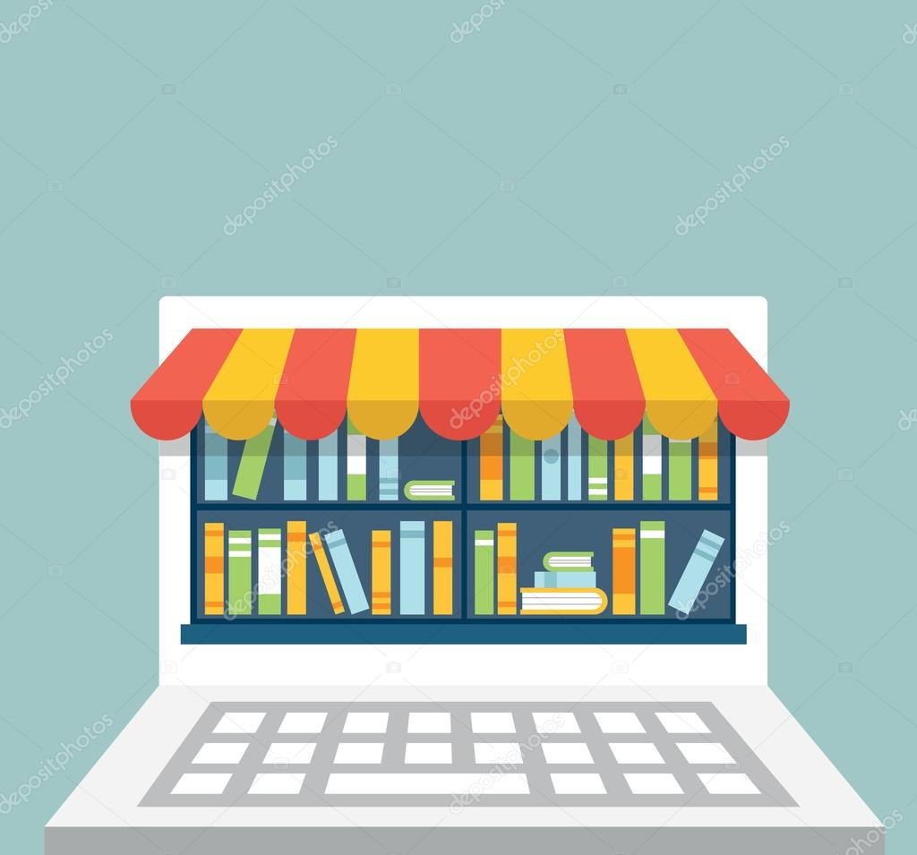 Library of books for read in laptop with copy space for text