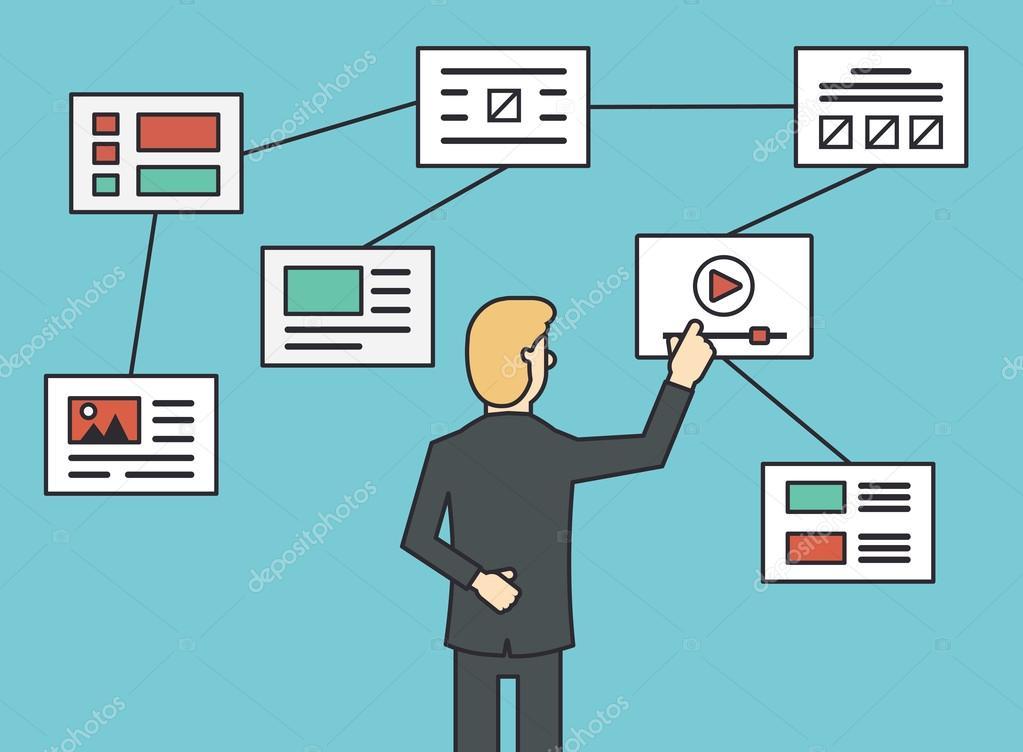 Webseite-Flussdiagramm-Sitemap anschließen, Arbeitsstruktur ...