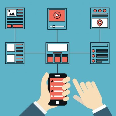 Wireframe and structures of websites. Responsive web design of mobile application for device. User experience and interaction