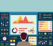 Fotografia Illustrazione di vettore di informazione analitica web su cruscotto e sviluppo statistiche sito Web