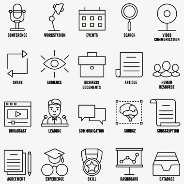 Vector set linear business education icons - part 1