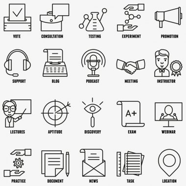Vector set linear business education icons - part 2