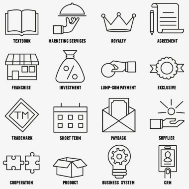 Set of linear franchise icons. Franchise as a successful business model - vector icons stock vector