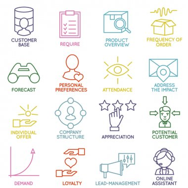 Vector Set of Linear Customer Relationship Management Icons - part 2 - vector icons stock vector