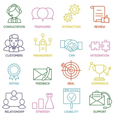 Vector Set of Linear Customer Relationship Management Icons - part 1