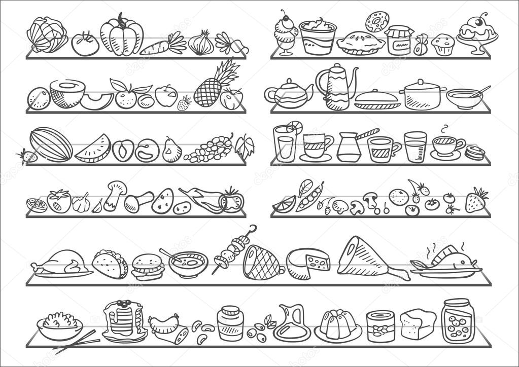Doodle food icons