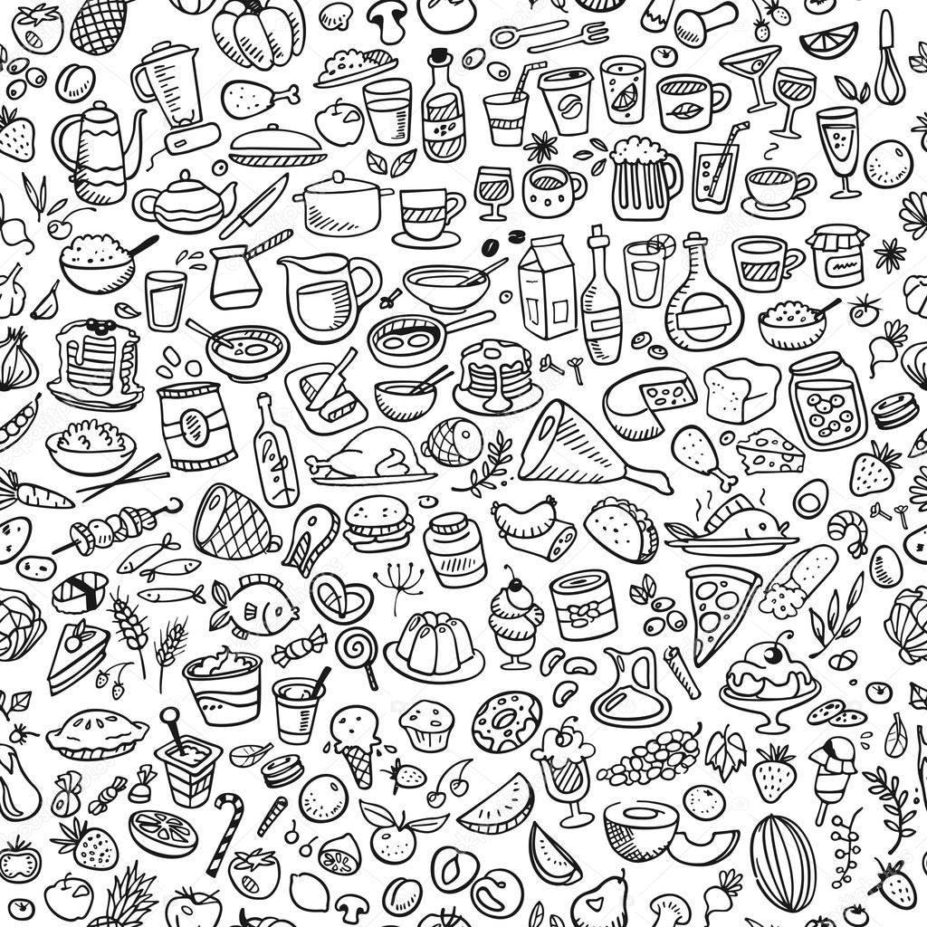 Doodle food icons seamless background